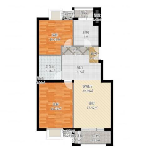 上海沙龙2室2厅1卫1厨92.00㎡户型图
