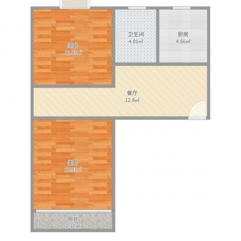 人乐一村2室1厅1卫1厨59.00㎡户型图