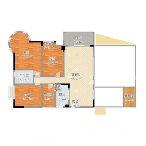 星河传说聚星岛A区3室2厅2卫1厨177.00㎡户型图