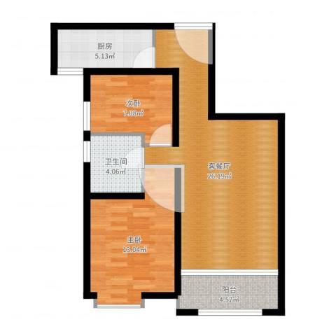 奥克斯盛世年华2室2厅1卫1厨75.00㎡户型图
