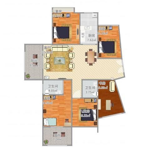 江南一品5室1厅2卫1厨172.00㎡户型图