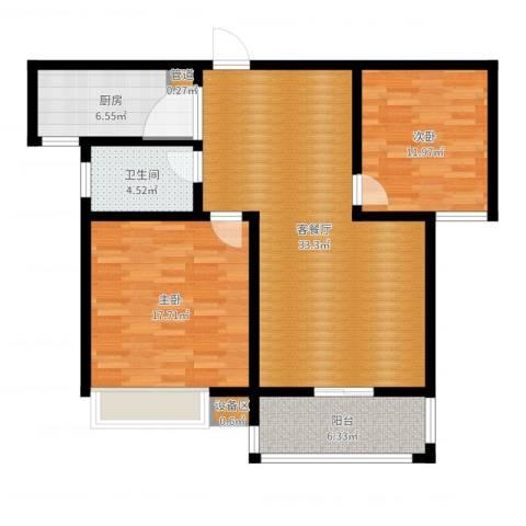 天骄华府2室2厅2卫2厨102.00㎡户型图