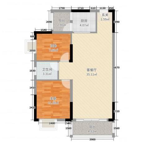 蓝海・卧龙湾2室2厅1卫1厨94.00㎡户型图