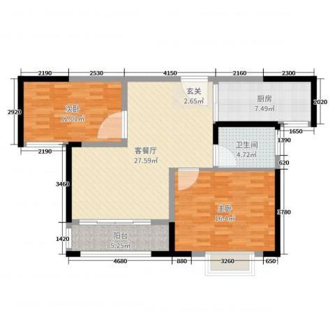 易郡龙腾2室2厅1卫1厨92.00㎡户型图