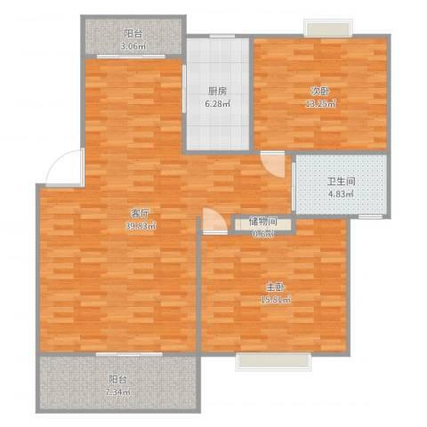 嘉城雅颂湾2室1厅1卫1厨114.00㎡户型图