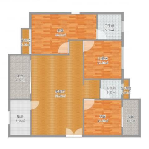 桃源华庭3室2厅2卫1厨136.00㎡户型图