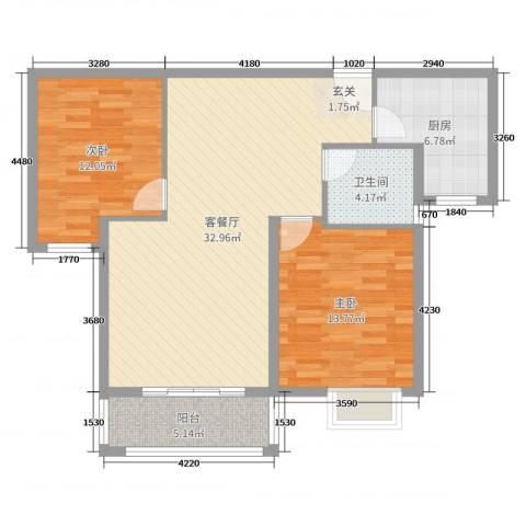 茂业天地2室2厅1卫1厨103.00㎡户型图