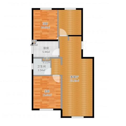 经纬城市绿洲海旋园2室2厅2卫2厨91.00㎡户型图