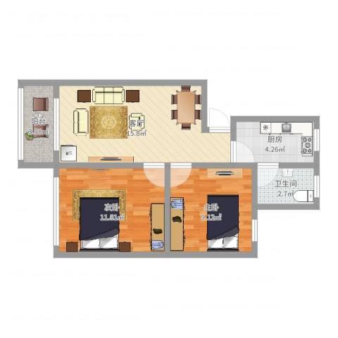 东方公寓(闸北)2室1厅1卫1厨58.00㎡户型图
