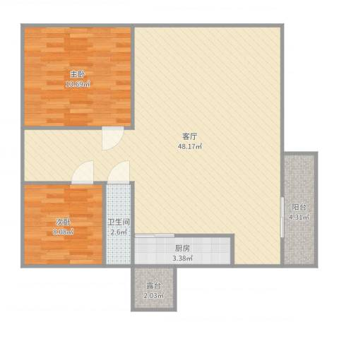 黄岐第一城2室1厅1卫1厨103.00㎡户型图