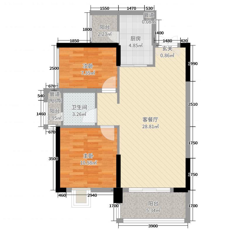 中铁・诺德国际83.64㎡1/2栋C1户型2室2厅1卫1厨