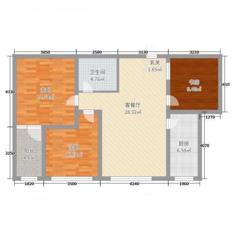丽水阳光世纪城3室2厅1卫1厨99.00㎡户型图