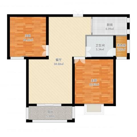 九悦鸿城2室1厅2卫1厨106.00㎡户型图
