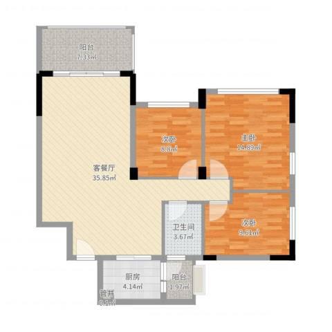 碧桂园荔园别墅3室2厅1卫1厨108.00㎡户型图
