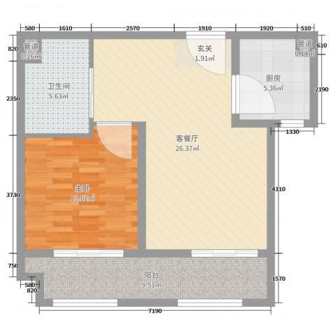 世嘉・正园1室2厅1卫1厨75.00㎡户型图