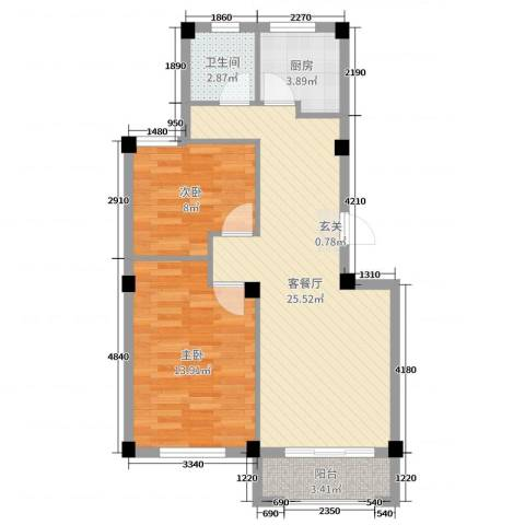 逸城山色2室2厅1卫1厨72.00㎡户型图