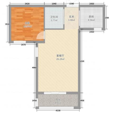 尚品林溪1室2厅1卫1厨62.00㎡户型图