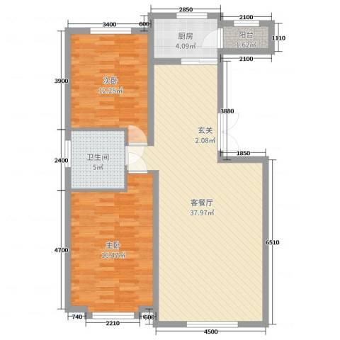 四季花城2室2厅1卫1厨112.00㎡户型图