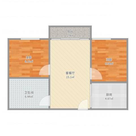 名雅花园7栋1022室2厅1卫1厨56.00㎡户型图