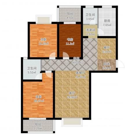 南阳桂花城御景3室2厅2卫1厨153.00㎡户型图