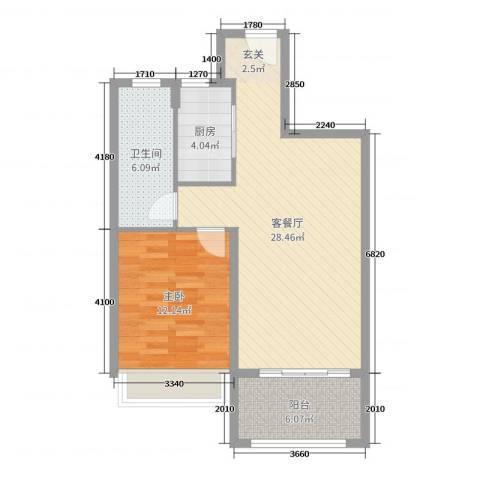 东方明珠海上御园1室2厅1卫1厨71.00㎡户型图
