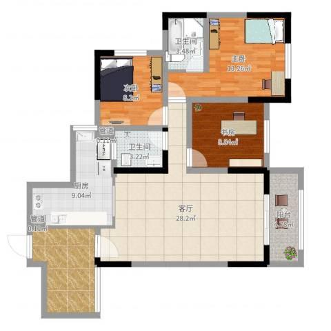 城南未来二期3室1厅2卫1厨110.00㎡户型图