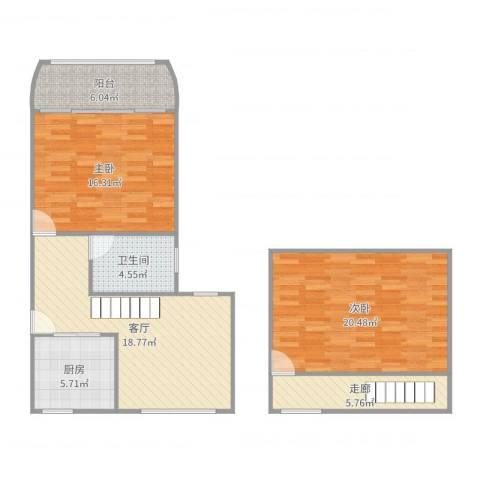 场中路755弄小区2室1厅1卫1厨97.00㎡户型图