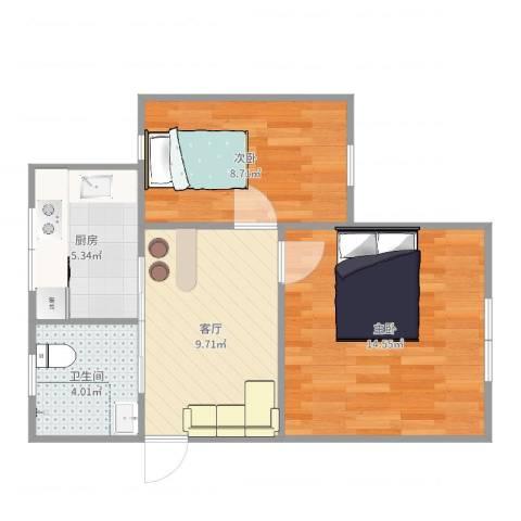 场中路2800弄小区2室1厅1卫1厨53.00㎡户型图