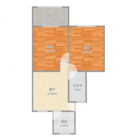 场中路3117弄小区2室1厅1卫1厨54.00㎡户型图