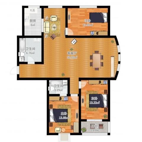 水木清华苑3室2厅2卫1厨139.00㎡户型图