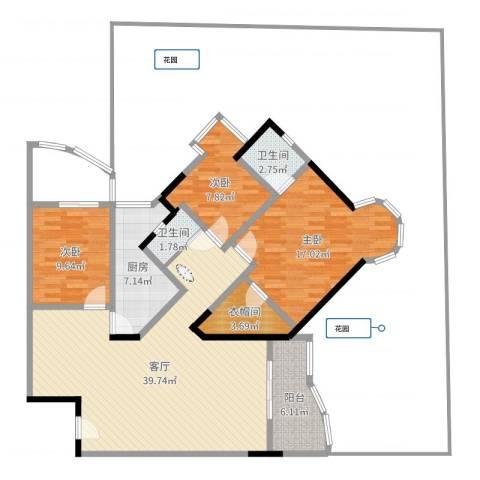 渝安龙都20053室1厅2卫1厨120.00㎡户型图