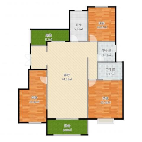 富兴御园3室1厅2卫1厨140.00㎡户型图