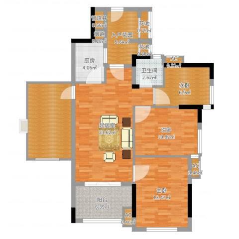 万科云山3室1厅4卫5厨111.00㎡户型图