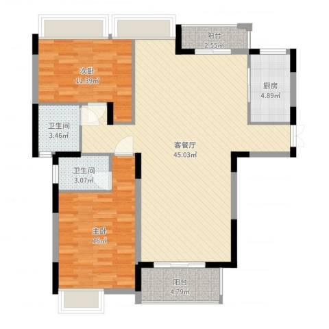 伴山尊品2室2厅2卫1厨113.00㎡户型图