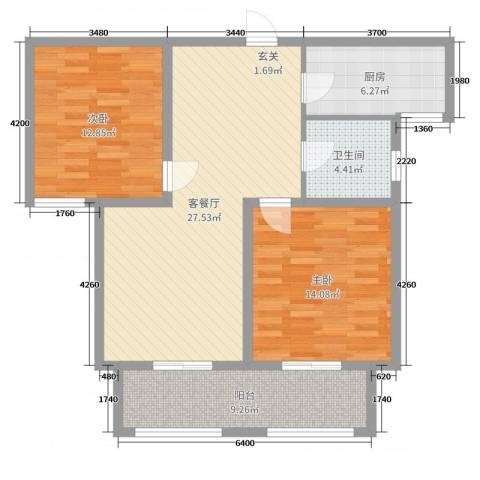 燕铭华庄2室2厅1卫1厨93.00㎡户型图