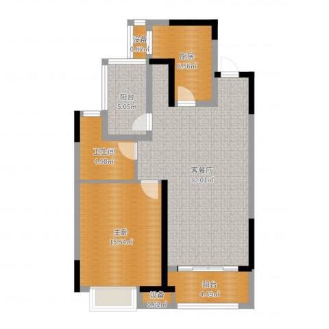 金科天籁城1室2厅1卫1厨85.00㎡户型图