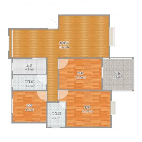 城市绿洲8#3-4023室2厅2卫1厨118.00㎡户型图