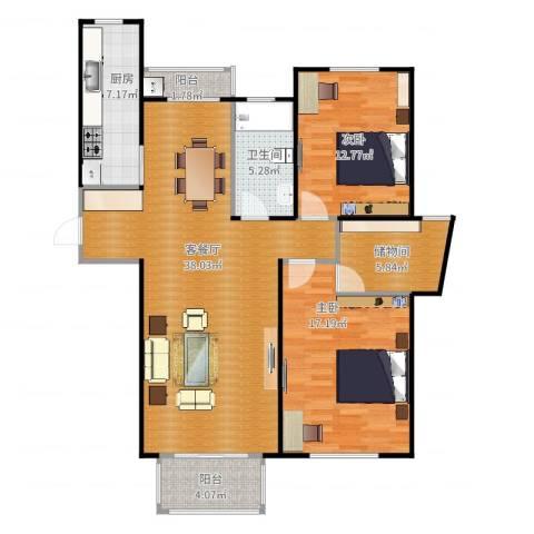海上国际花园2室2厅1卫1厨115.00㎡户型图