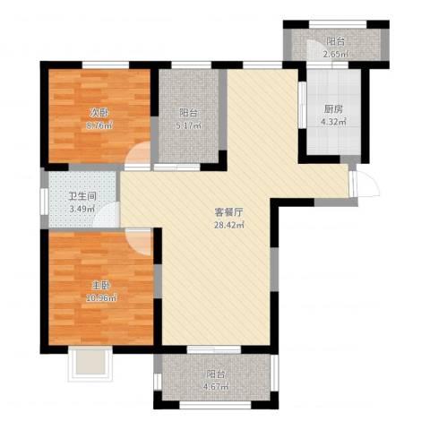 同盛南桥花园2室2厅1卫1厨86.00㎡户型图