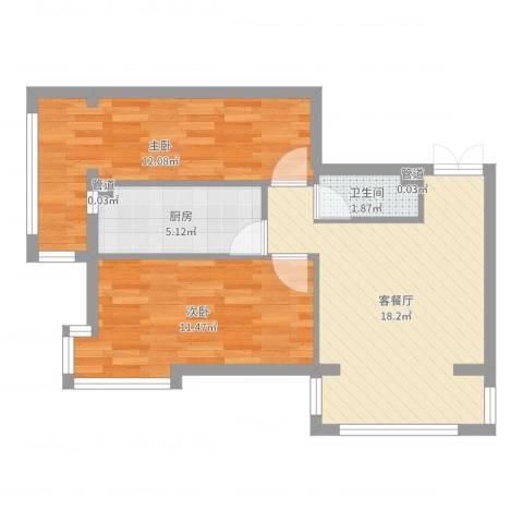 观澜宝邸2室2厅1卫1厨48.80㎡户型图