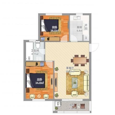 华光城2室2厅1卫1厨88.00㎡户型图