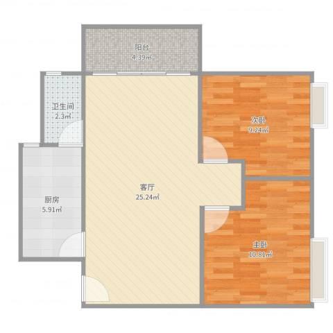 名雅花园2室1厅1卫1厨72.00㎡户型图