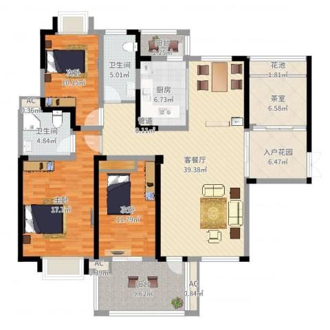 海门东恒盛国际公馆3室2厅2卫1厨156.00㎡户型图