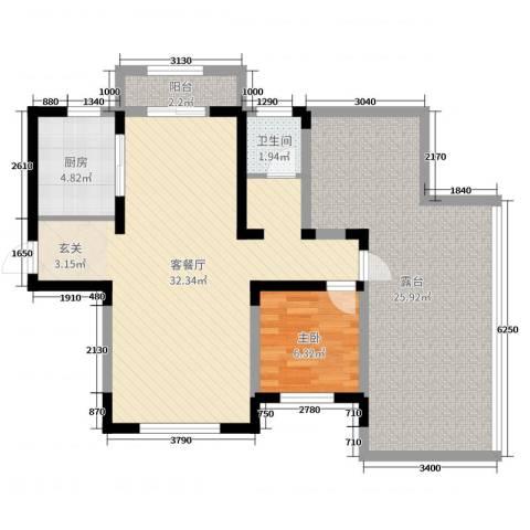 建业壹号城邦1室2厅1卫1厨93.00㎡户型图