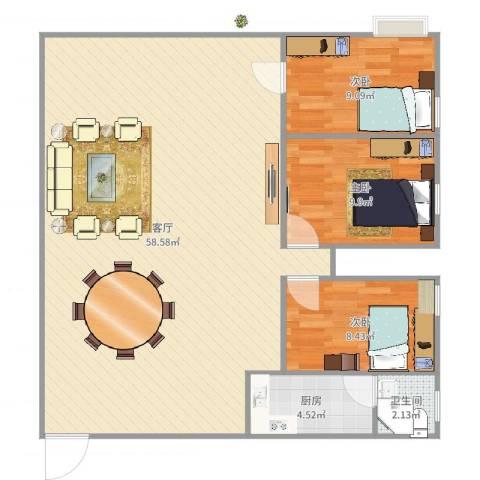 名雅花园3室1厅1卫1厨116.00㎡户型图