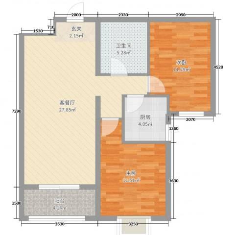 奥林星城五期2室2厅1卫1厨89.00㎡户型图