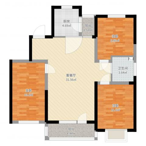 中国铁建梧桐苑3室2厅1卫1厨116.00㎡户型图