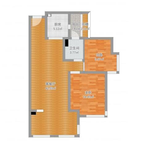 世纪城国际公馆香榭里2室2厅1卫1厨99.00㎡户型图