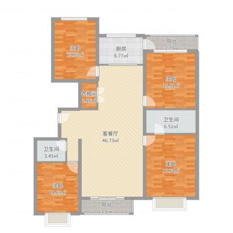 西京府4室2厅2卫1厨166.00㎡户型图