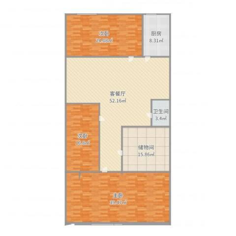 东大街东里3室2厅1卫1厨200.00㎡户型图